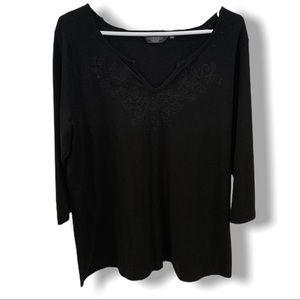 3/4 Sleeve T-Shirt w/ Sparkly Neckline